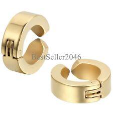 Mens Womens Boys Stainless Steel Clip On Earrings Hoop Huggie Non-Piercing 2PCS
