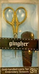 "Gingher 3.5"" Gold-handled Lion's Tail Embroidery Scissors Made in Italy NIP"