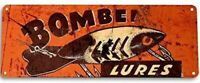 BOMBER FISHING LURE TIN SIGN 10.5 X 4.5 PLUG TOP WATER DIVING STICK BAIT BEER