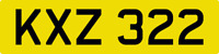 DATELESS PRIVATE NUMBER PLATE KXZ 322 CHERISHED REG COVER NON DATING CHEAP 3 X 3