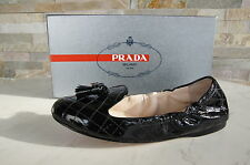 luxus PRADA  40,5 Ballerinas Slipper Halbschuhe Schuhe Lamm schwarz neu UVP330€