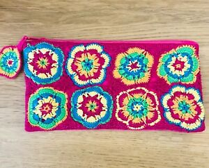 Cupcakes & Cartwheels Multicolor Crochet Front  Zipper Zip Top Pouch Bag