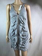 Ladies Jewels V Neck Short Mini Summer Dress Beach Gray Boho Sun Dress Women