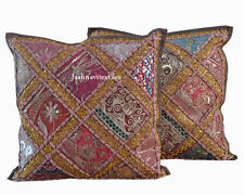 Set of 2 Indian Handmade 16X16 zari Cotton Hippie Cushion Cover Homedecor GH