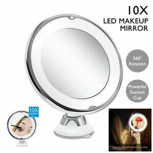 Portable 10x Magnifying Makeup Vanity Mirror Cosmetic Beauty Bathroom Mirror LED