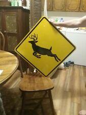 Large Unused Deer Crossing Reflective Sign 33x33 Road Highway Dot Grade