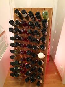 Champagner Rüttelpult für 120 Flaschen + edle Prägung / Weinregal in Eiche Natur
