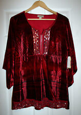 One World M Red Printed Velvet Sequinned Tunic Top 3/4 Angel Sleeve NWT