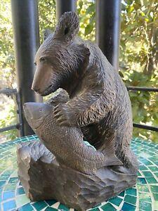 "Vintage 12.5"" Brown Bear & Fish Hand Carved Wooden Sculpture wood"
