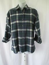 Hazel Creek Ladies Cotton Flannel Shirt Sz M Green Navy Plaid Button Front