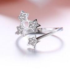 Damen Wrap Ring Sterne echt Sterling Silber 925 Zirkonia offen