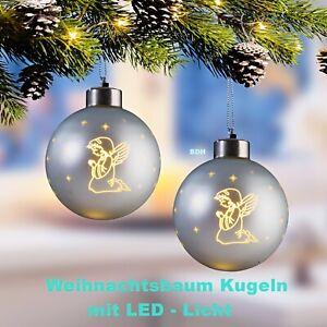 2 x Weihnachtskugeln m. LED Kugel Christbaumkugeln 8 cm Weihnachtsbaum silber