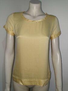 Jigsaw Short Sleeve Silk Front Lemon Yellow T-Shirt Blouse Size