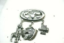 Vintage Sterling Silver World Brooch With Noah's Ark, Giraffes & Dove Charms