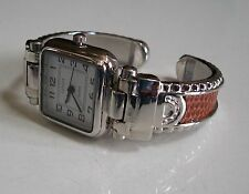 Charming Western Style Silver Finish/Brown Leather Bangle Women's Fashion Watch