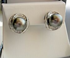 18K WG Black South Sea Pearl 11 mm & Diamond Earrings 1.22 CTW Omega Back