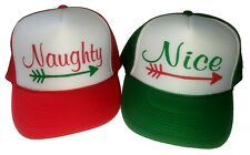 2 Hats Naughty & Nice Christmas Sweater Party Snapback Mesh Trucker Hat Cap