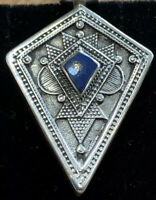 Antique  Vintage Sterling Silver Diamond Shaped Pendant With Lazurite