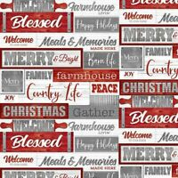 Holiday Homestead Words 1621-89 Cotton Quilt Fabric Henry Glass BTHY