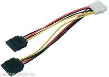 """NEW MOLEX 5.25"""" 4 PIN TO 2 X S-ATA POWER CABLE ADAPTER"""