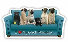 """""""I LOVE MY COUCH PAWTATO!""""  PUG Car Magnet *QUALITY*"""