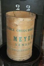 Ancien pot à choucroute en bois de peuplier - boîte publicitaire - caisse - rare