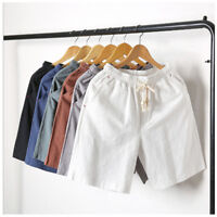 Mens Shorts Cotton Linen Plain Drawstring Loose Summer Beach Hot Pants Trousers