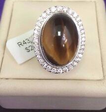 14 K White  Gold  Tiger Eye Cabochon  Center Stone & Diamonds Ring