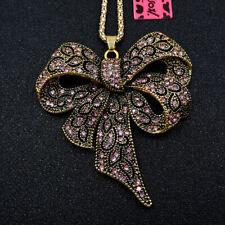 Hot Shiny Pink Crystal Bowknot Enamel Betsey Johnson Pendant Sweater Necklace