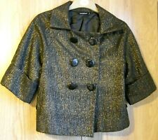 Womens Ladies Jacket Black Gold Bolero Shrug Cropped Formal Party Outfit size 10