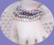 6 Fresh water Pearl Bracelets. Lavender, Blue, 2 Pink, Purple & Whites.