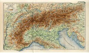 1895 ALPS ALPINE MOUNTAINS AUSTRIA SWITZERLAND ITALY SLOVENIA FRANCE FOLIO Map
