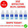 6 PACK Hand Sanitizer Gel 75% Alcohol Meets WHO/CDC Standards Scent Free 2OZ