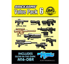 BRICKARMS Value Pack #6 Weapon Pack w/ GLOW M16-DBR for Lego Minifigures NEW