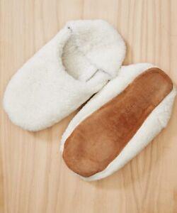 JENNI KAYNE Shearling Moroccan Slippers Ivory L $275