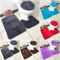 3PC Faux Shaggy Soft Bathroom Set Bathing Mat Contour Rug Toilet Lid Cover New