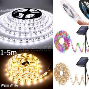Solar Powered LED Strip Lights Flexible Tape Garden Fence Lamp Light Outdoor UK