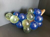 """Blue clear Lucite Acrylic Cluster of Grapes Retro Vintage MCM 11.5"""" long"""