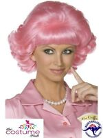 Pink Frenchy Curly Wig Grease 50s Pink Ladies Wig Hair Fancy Dress Frenchie