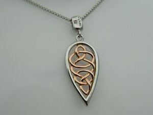 Clogau Sterling Silver & 9ct Rose Gold Welsh Royalty Pendant RRP £169.00