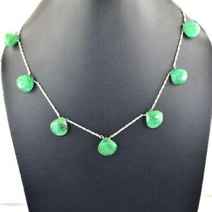 Amazing Emerald Chain Necklace With Emerald Drop in 925 Silver, Valentines Gift