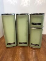 Vintage Mid Century Lincoln Beautyware Metal 4 pc. Canister Set Avocado Green