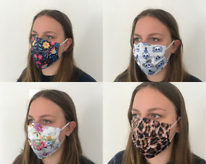 Face Mask Washable Reusable 3D Printed Fashion Unisex Personalised Cotton