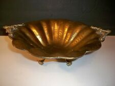 VINTAGE HAMMERED SOLID BRASS BOWL FOOTED WITH SCALLOPED RIM 15 ''