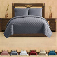 3 Piece Quilted Bedspread Stylish Bed Throw Single Double King Soft Bedding Set