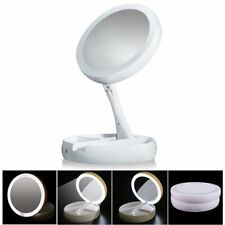 Double-Sided LED Lighted Make-up 1X/10X Magnifying Mirror, USB, My Fold-Away