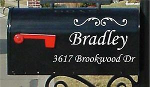 Mailbox Letters 2 PC SET Name Number & Street Name Custom Mailbox Stickers