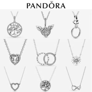 ALE S925 Genuine Silver Pandora Love Family Sparkling Necklace With Gift Box