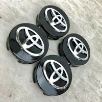 4x FITS TOYOTA WHEEL CENTER HUB CAP GLOSS BLACK CHROME LOGO 62MM / 2 1/2""