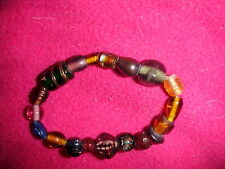 and Stone Beaded Stretch Bracelet Vintage! Multi Colored Multi Sized Glass